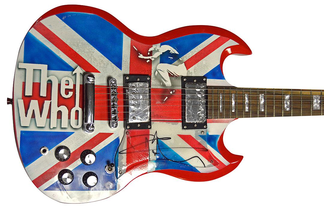 Pete Townshend The Who British Flag Autographed Airbrushed Guitar AFTAL UACC RD
