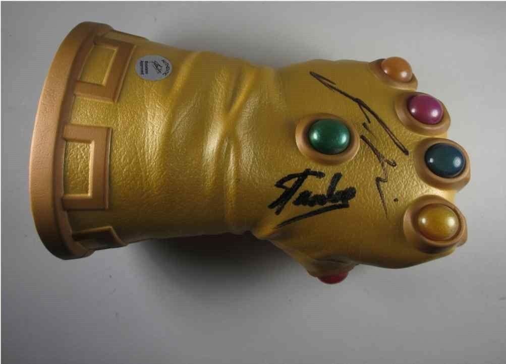 Guardians Galaxy Infinity Gauntlet Glove Stan Lee + Josh Brolin Signed PSA/DNA