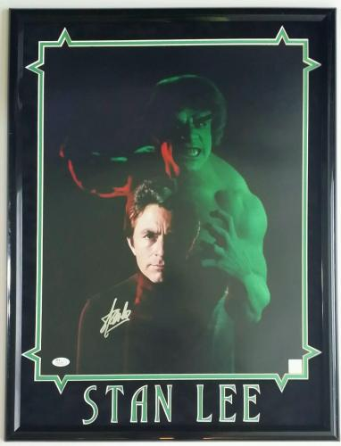 Stan Lee Autographed Signed 16x20 Framed 18x24 The Hulk JSA