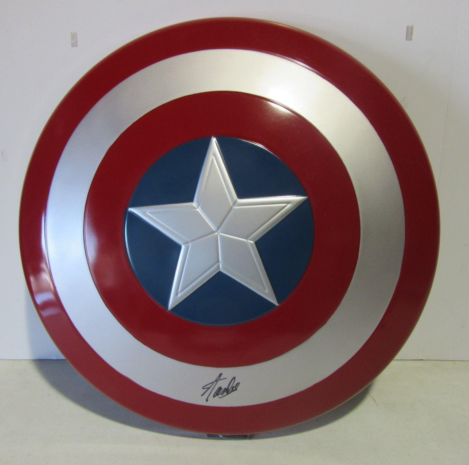 Stan Lee Signed Autographed Captain America Shield Marvel Comics Psa/dna Ac32433