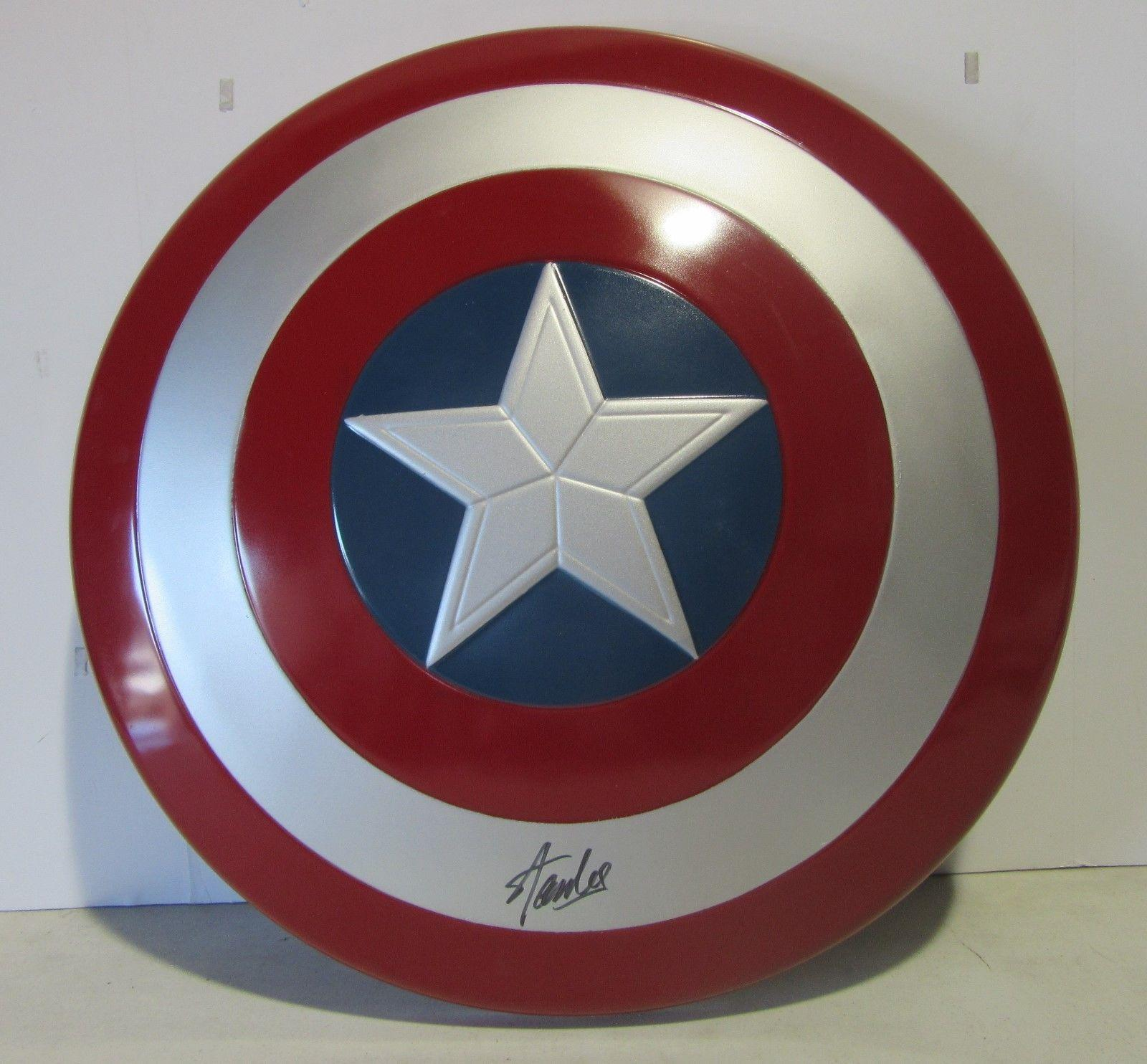 Stan Lee Signed Autographed Captain America Shield Marvel Comics Psa/dna Ac32434