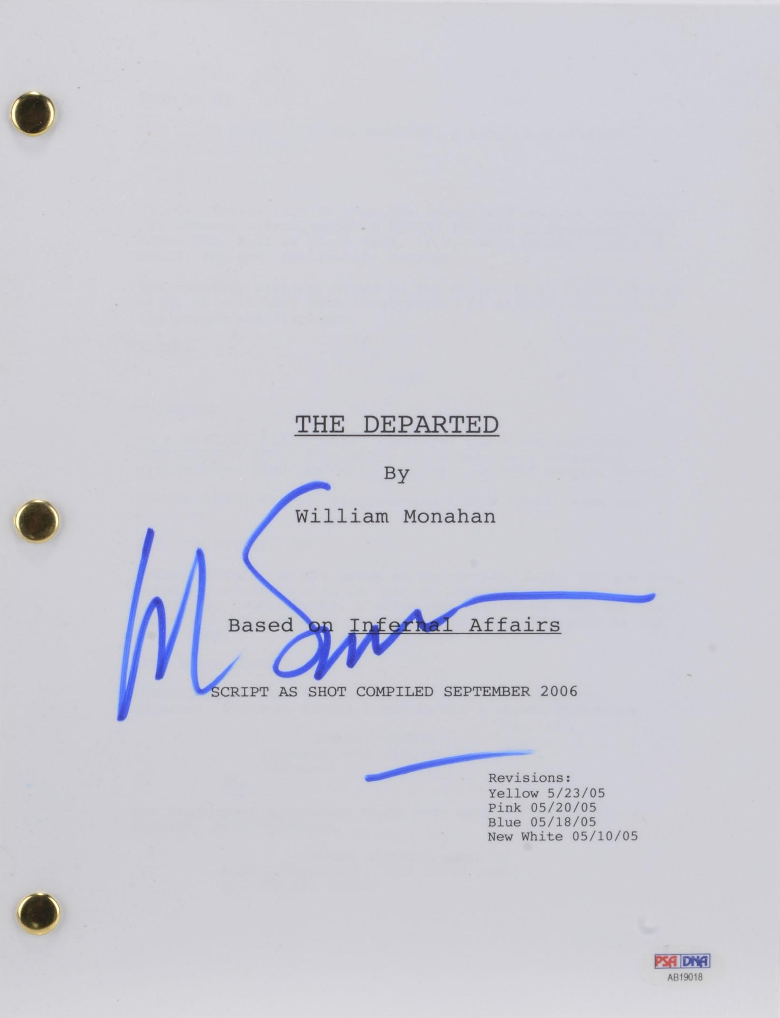 Martin Scorsese Autographed The Departed Replica Movie Script - PSA/DNA