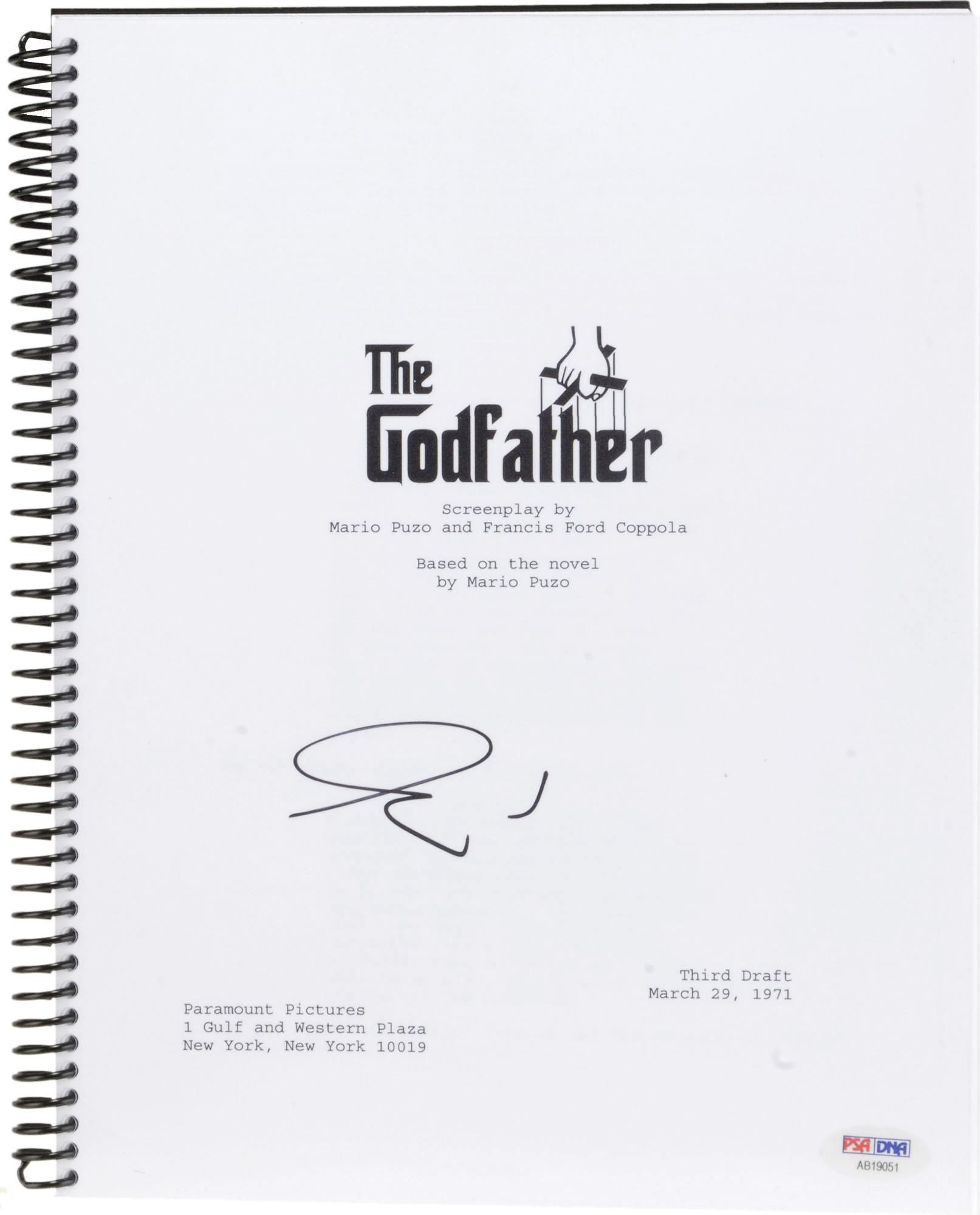 Al Pacino Autographed The Godfather Replica Movie Script - PSA/DNA