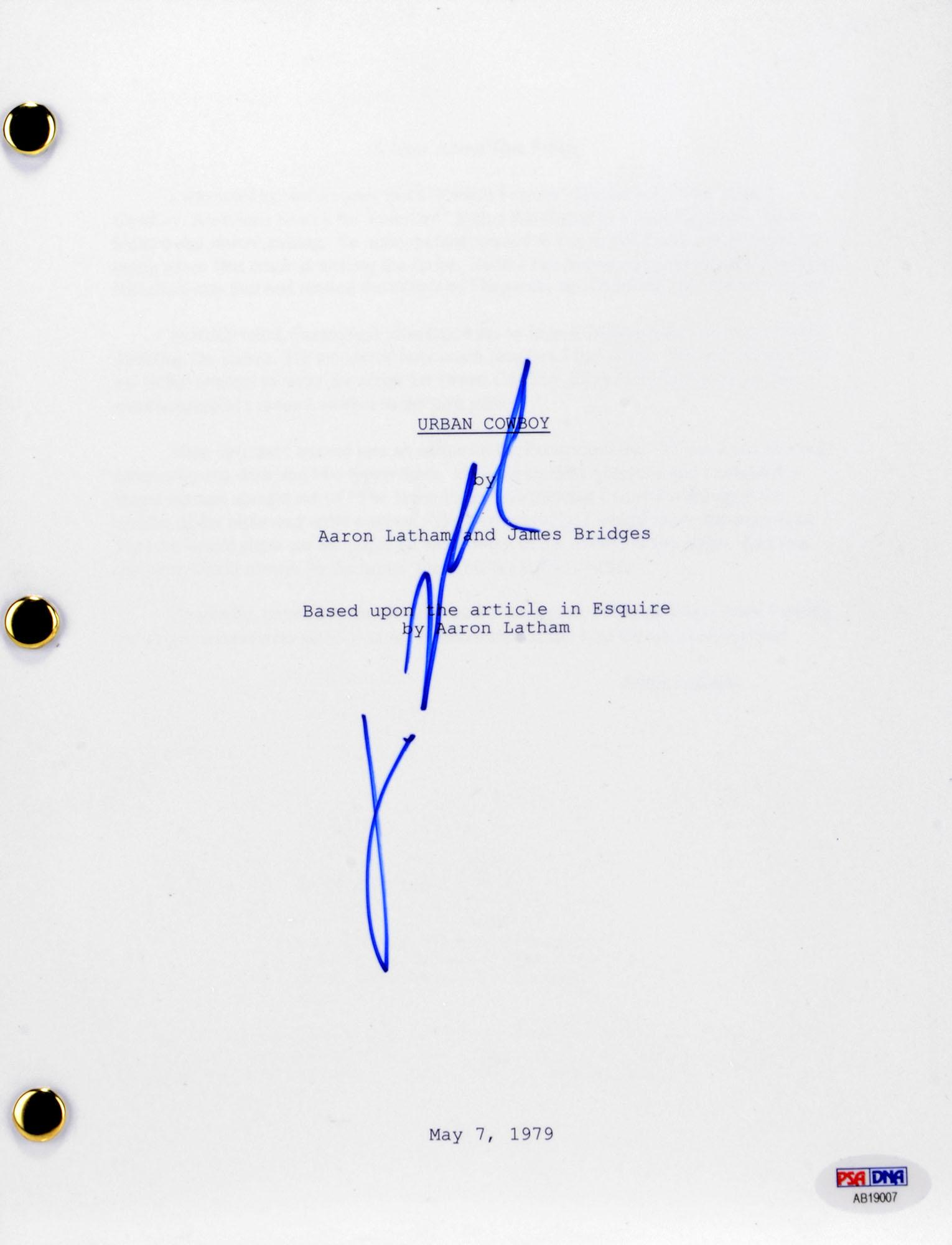 John Travolta Autographed Urban Cowboy Replica Movie Script- PSA/DNA