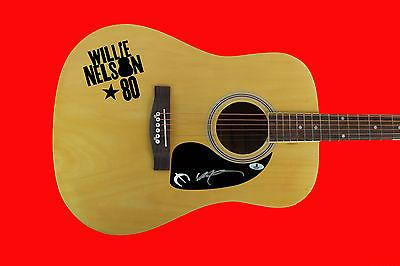 Willie Nelson Signed Acoustic Guitar Autographed BAS #B03485