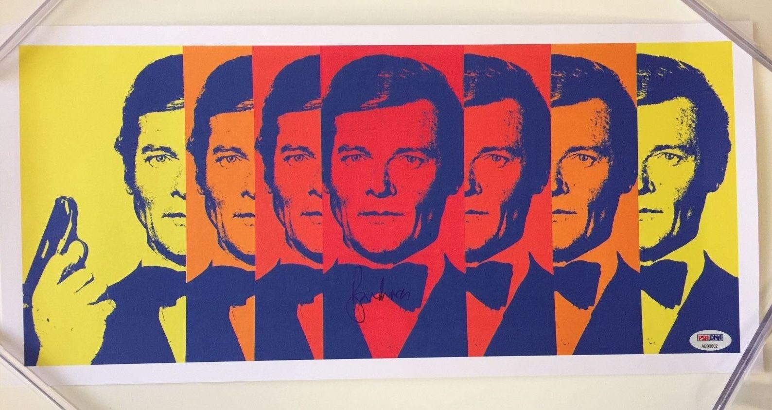 Sir ROGER MOORE Signed JAMES BOND Lithograph Print 9x18 PSA/DNA COA Pic Proof