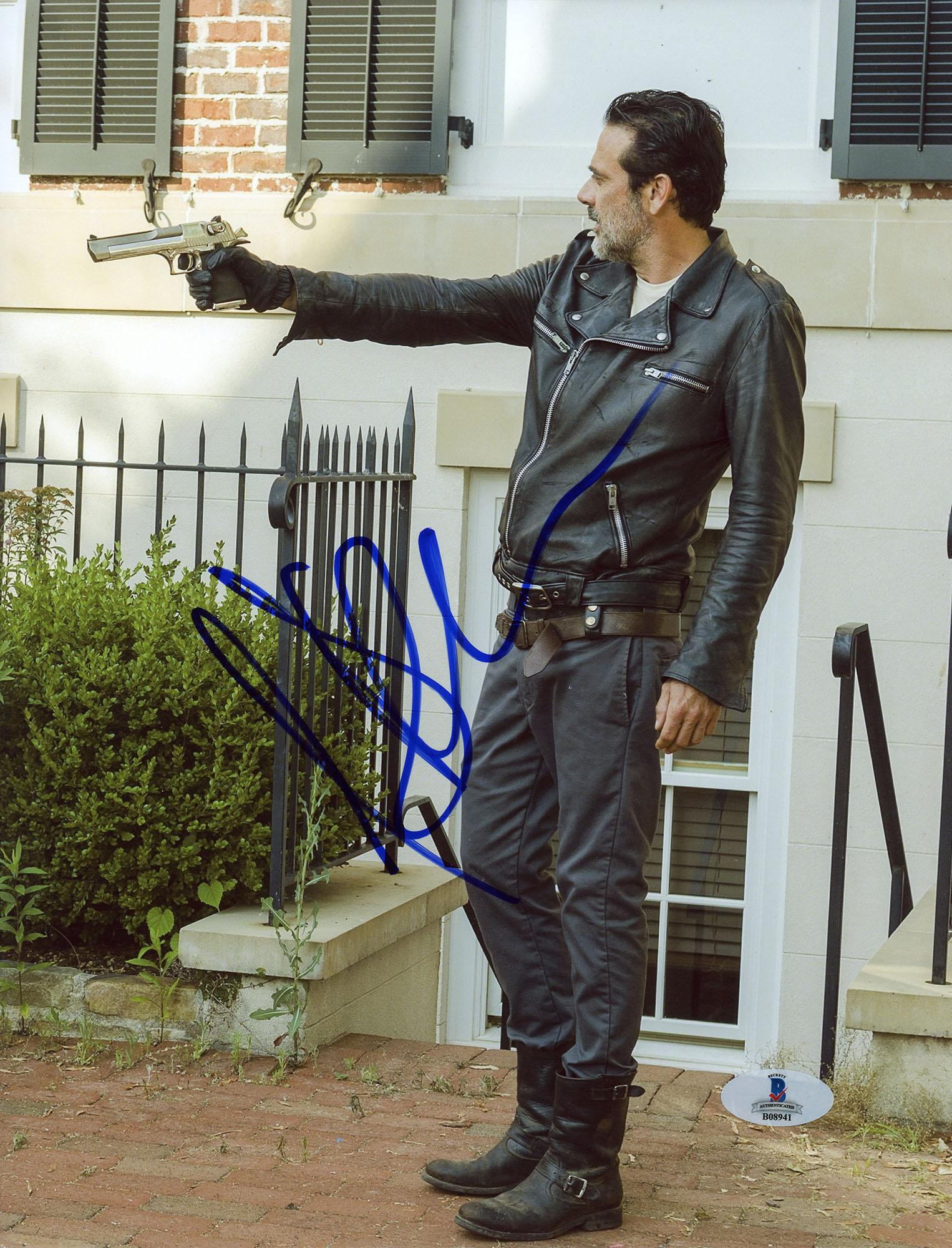 "Jeffrey Morgan Autographed 8"" x 10"" The Walking Dead Pointing Gun Photograph - Beckett COA"