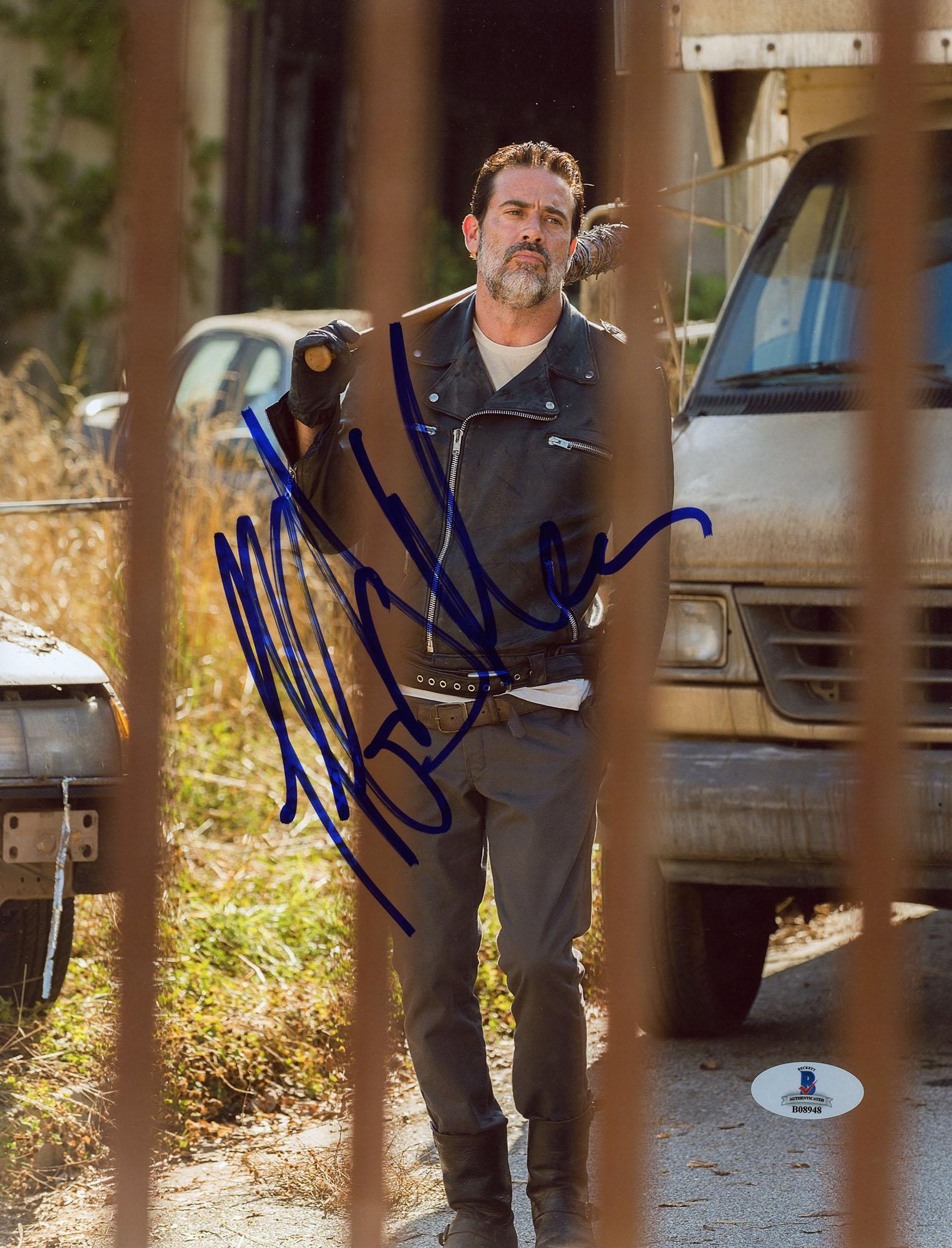 "Jeffrey Morgan Autographed 8"" x 10"" The Walking Dead Rail Pose Photograph - Beckett COA"