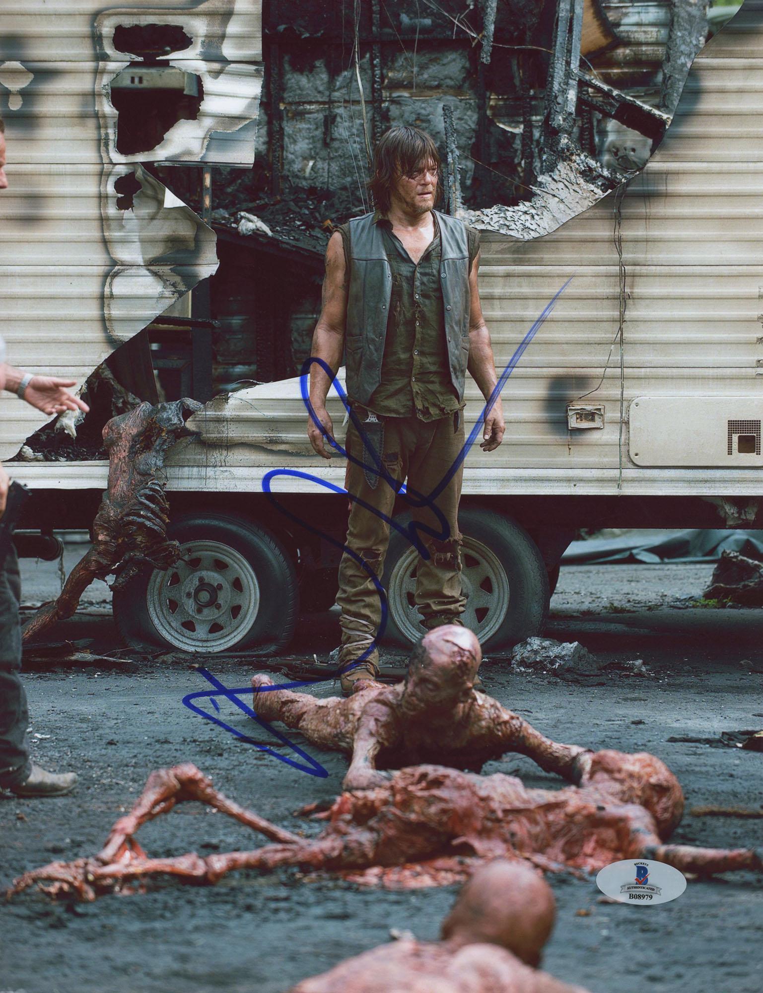 "Norman Reedus Autographed 8"" x 10"" Standing in Zombies Photograph - Beckett COA"
