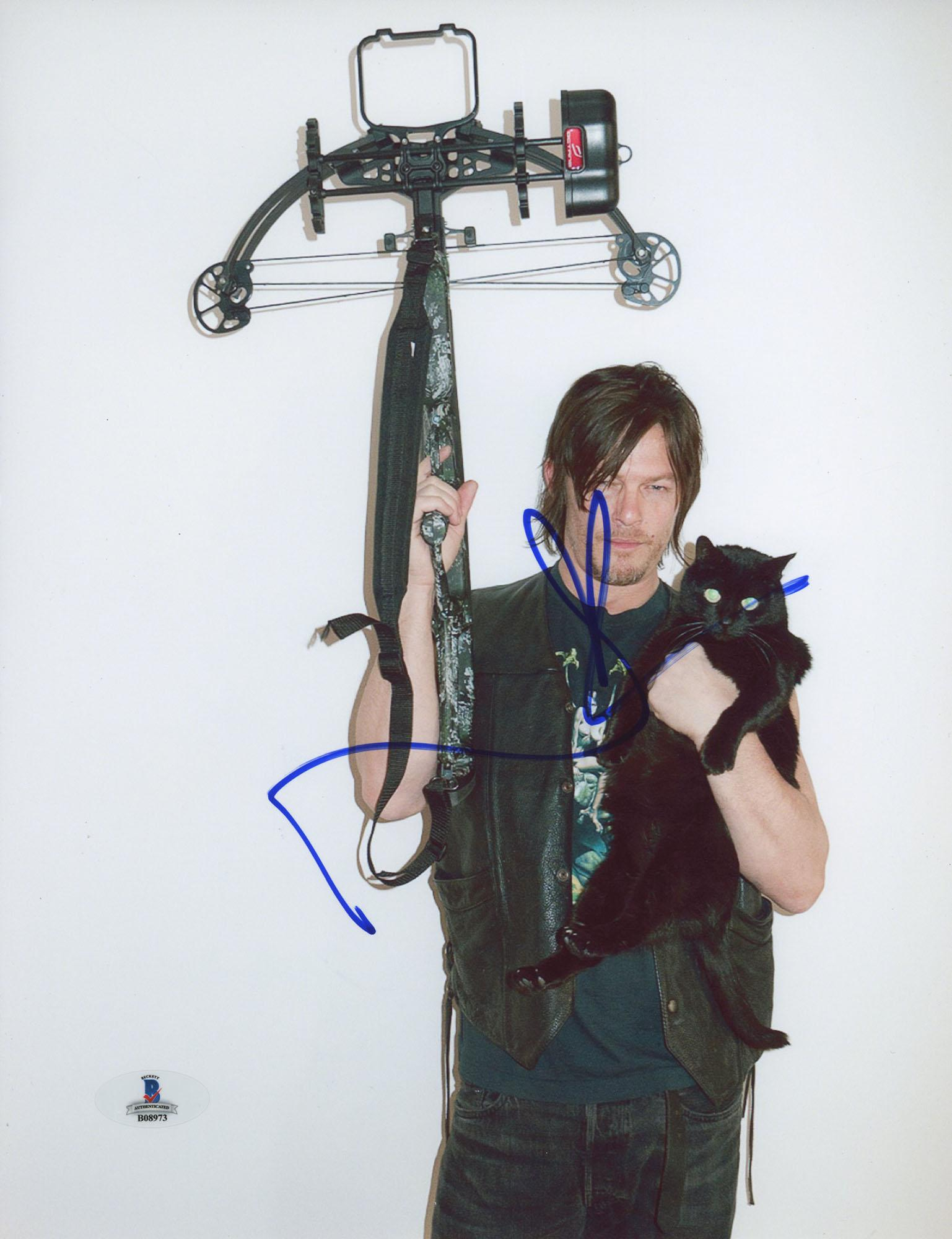 "Norman Reedus Autographed 8"" x 10"" Holding Crossbow & Cat Photograph - Beckett COA"
