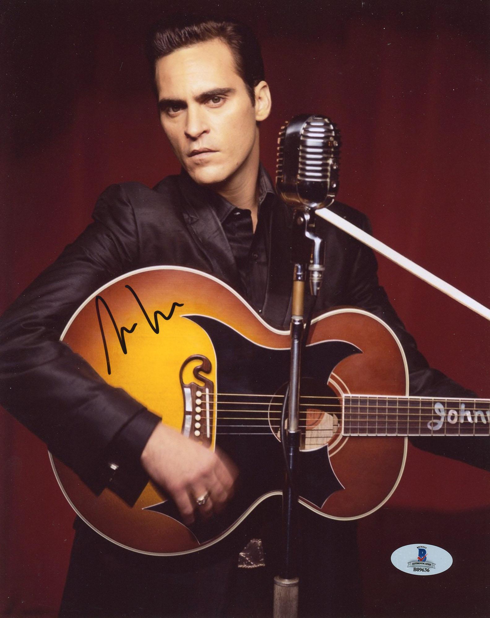 """Joaquin Phoenix Autographed 8"""" x 10"""" Johnny Cash Photograph - Beckett COA"""
