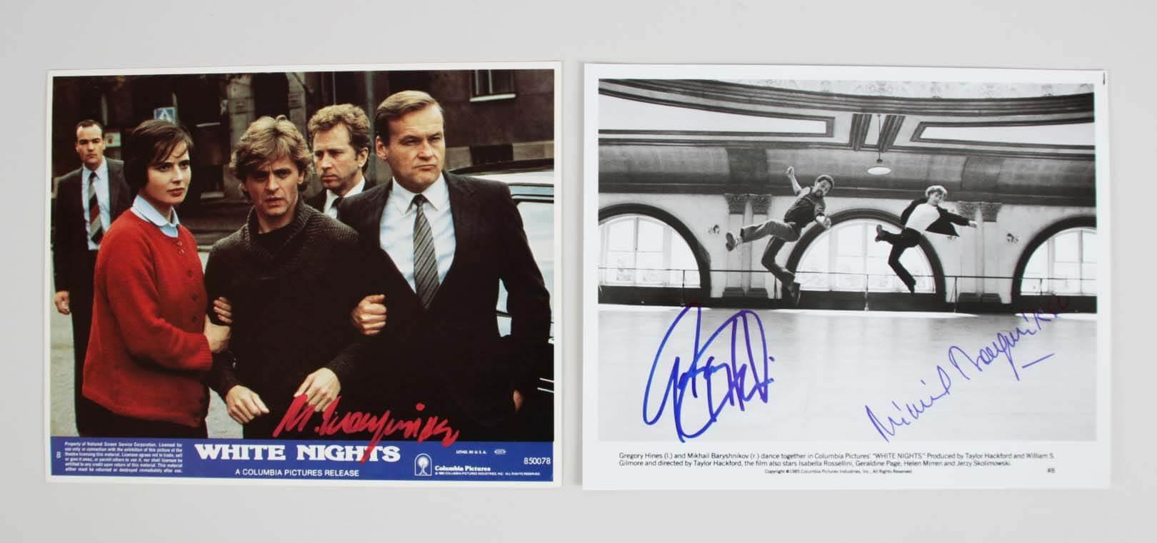 Mikhail Baryshnikov & Gregory Hines Signed 8×10 White Nights Movie Still Photos – COA JSA