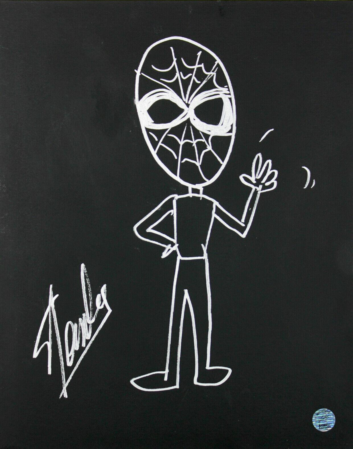 stan lee signed 16x20 canvas w spiderman sketch psadna