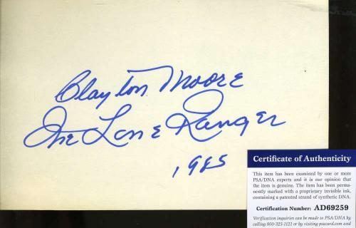 CLAYTON MOORE Hand Signed JSA COA 5X7 Index Card Autographed Authentic