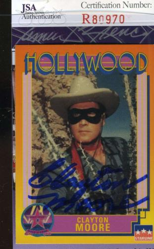 Clayton Moore Hand Signed Jsa Hollywood Walk Fame Card Autographed Authentic