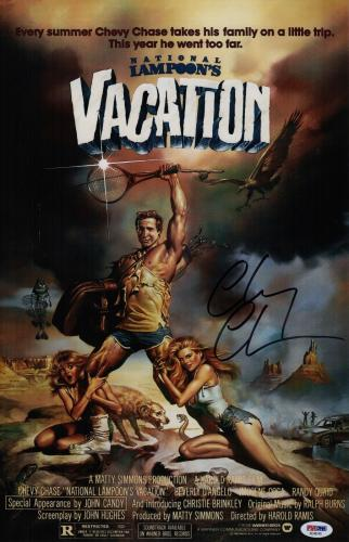 Chevy Chase Signed Vacation 11x17 Movie Poster Psa Coa Ad48145