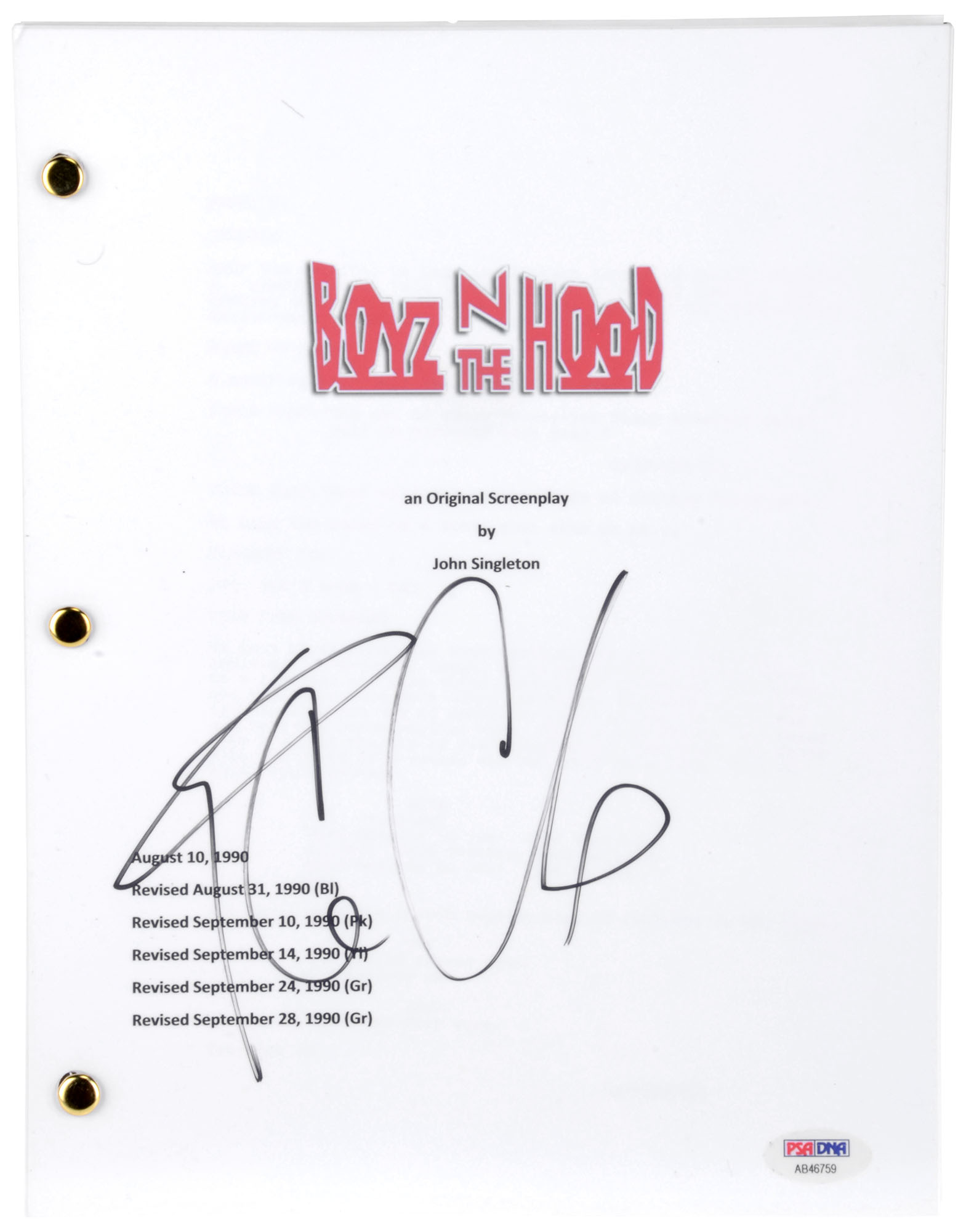 Ice Cube Autographed Boyz N the Hood Replica Movie Script - BAS COA
