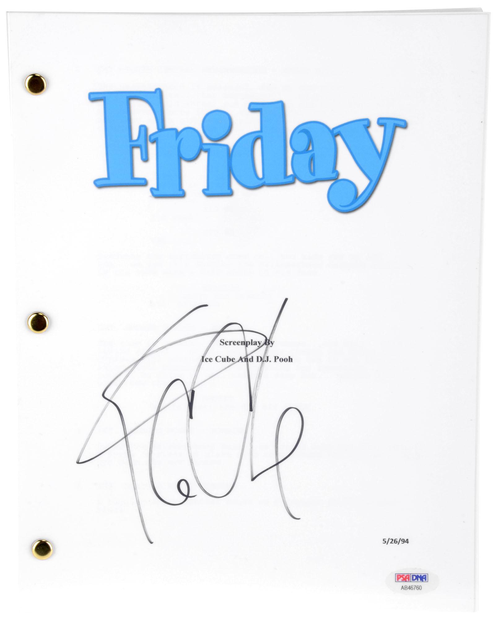 Ice Cube Autographed Friday Replica Movie Script - BAS COA