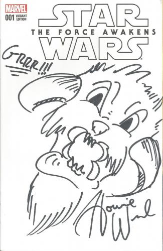 Star Wars Force Awakens Howie Weed Signed W/ Sketch Comic Book #1 PSA/DNA COA