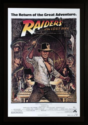 Harrison Ford Indiana Jones Framed Autographed Raiders of the Lost Ark Black Movie Poster - BAS