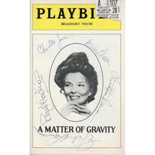 A Matter of Gravity Autographed Playbill With Multiple Signatures - PSA