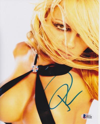 Pamela Anderson Signed 8x10 Photo - Pam Sexy Black Top Beckett BAS