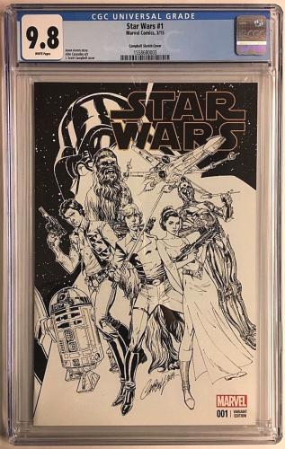 Star Wars #1 Marvel Comics 3/15 Campbell Sketch Cover Variant Edition CGC 9.8