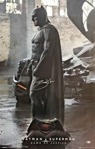 BEN AFFLECK Signed BATMAN V SUPERMAN Auto Dawn of Justice 36X24 Poster BAS COA 3