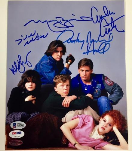 BREAKFAST CLUB Cast Signed 8x10 Photo * Beckett BAS COA * All 5 w/ Ringwald HALL