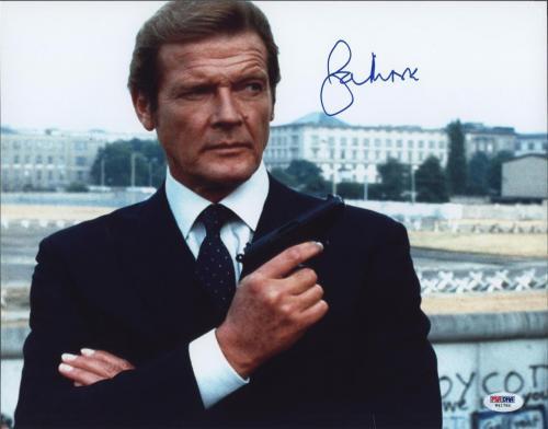 Roger Moore Signed James Bond 007 Photo 11x14 - Autographed PSA DNA 8