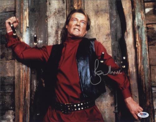Roger Moore Signed James Bond 007 Photo 11x14 - Autographed PSA DNA 27