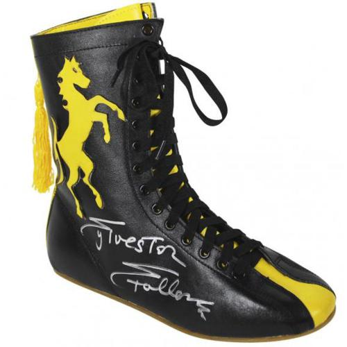 Sylvester Stallone Rocky Autographed Black and Yellow Boxing Shoes - Beckett