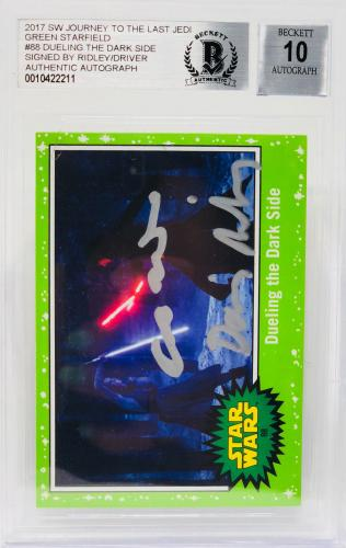 Daisy Ridley Adam Driver Signed Star Wars Last Jedi Topps - BAS Graded 10 #18