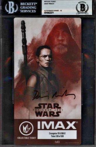 Daisy Ridley Signed Star Wars Last Jedi IMAX Ticket Rey - Beckett BAS Graded 10