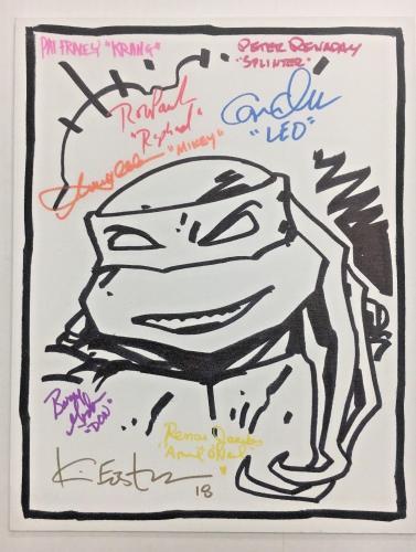 Tmnt Ninja Turtles Cast (8) Signed 11x14 Eastman Sketch Canvas Bas Coa Auto H