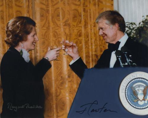 Jimmy Carter & Margaret Thatcher Signed Autographed 8x10 Photo Jsa Coa Historic!
