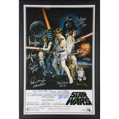 """Star Wars - A New Hope Framed Autographed 30"""" x 42"""" 1977 Movie Poster with 10 Signatures - Beckett"""