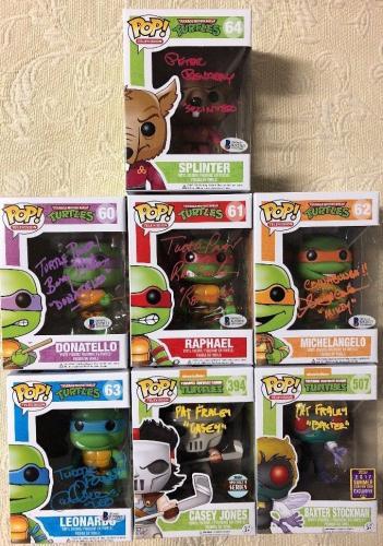 Teenage Mutant Ninja Turtles Signed Autographed Funko Pop SET BECKETT COA RARE 1
