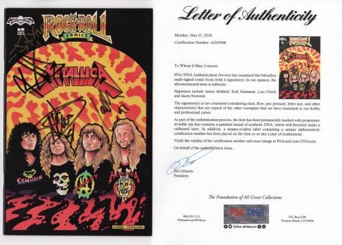 Metallica X4 James Hetfield Kirk Lars & Jason Signed Rock 'n' Roll Comics Psa