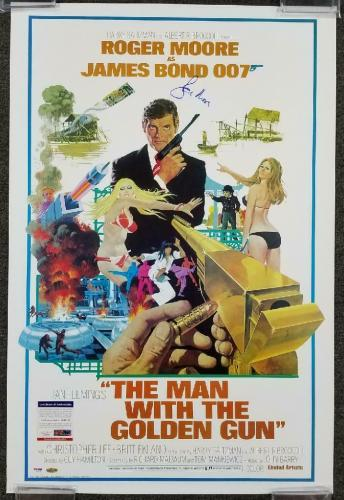ROGER MOORE Signed 24x36 The Man With the Golden Gun Movie Poster (A) ~ PSA/DNA