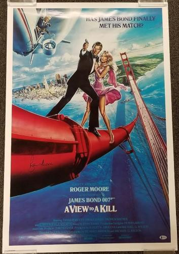 ROGER MOORE Signed 24x36 A VIEW TO A KILL Movie Poster (A) ~ Beckett BAS COA