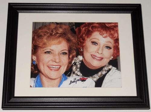 Betty White Autographed 8x10 Color Photo (framed & Matted) - With Lucy!