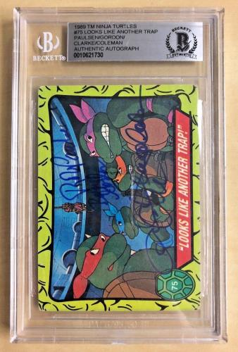Tmnt Ninja Turtles Cast (4) Signed #75 Looks Like Another Trap Card Bgs Auto A