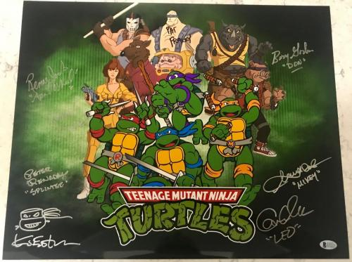 Teenage Mutant NINJA TURTLES Cartoon Cast Eastman Sketch Signed 16x20 BAS COA