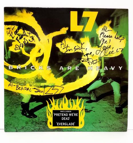 """L7 Donita Sparks +3 Signed Autographed """"Bricks Are Heavy"""" Album Cover JSA R46286"""