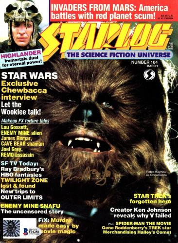 "PETER MAYHEW Signed Autographed Star Wars ""STARLOG"" Magazine BECKETT BAS #F04256"