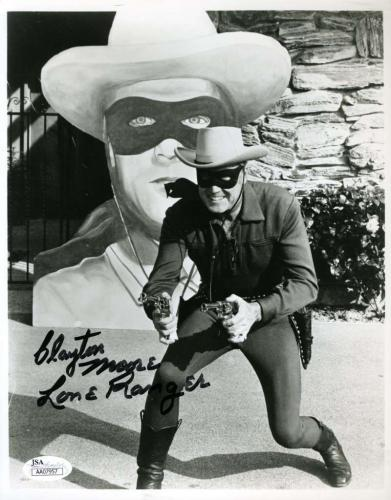 CLAYTON MOORE JSA Coa Lone Ranger Signed 8x10 Photo Autograph Authentic