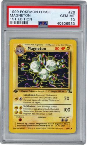 Mageneton 1999 Fossil First Edition Pokemon Card #26 PSA 10