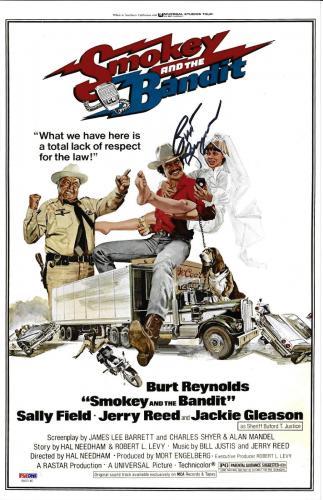 Burt Reynolds Signed 11x17 Smokey and the Bandit Movie Poster Photo - PSA/DNA