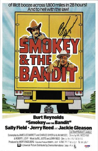 Burt Reynolds Signed 11x17 Smokey and the Bandit Movie Poster Photo - PSA/DNA 2
